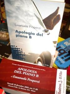 Apologia del piano B il romanzo di Emanuele Properzi a Roma alla libreria Il Filo