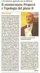 Corriere Adriatico 22 nov 09 il successo del romanzo Apologia del piano B del monturanese Emanuele Properzi