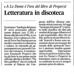 Corriere dic 09 letteratura e discoteca col libro Apologia del piano B e Le Dome