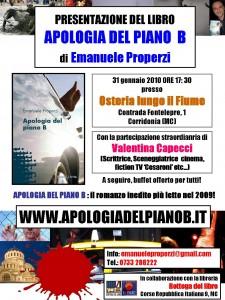 Locandina ufficiale Apologia del piano B all'Osteria con Valentina Capecci scrittrice sceneggiatrice