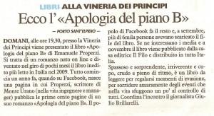 Resto del Carlino 16 gen 10 Apologia del piano B alla Vineria romanzo e vino