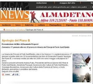 corrierenews gennaio 2010 Apologia del piano B il romanzo dello scrittore Properzi