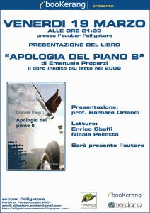 Locandina Alligatore MC presentazione romanzo Apologia del piano B