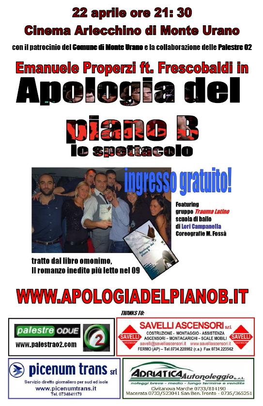 IMMAGINE  locandina ufficiale Apologia del piano B 22 aprile teatro