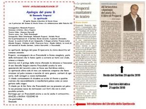 Libretto Articoli giornale Apologia del piano B Spettacolo Teatrale sul libro di Properzi